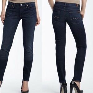 7 For All Mankind Skinny Jeans Womens 23 Dark Blue